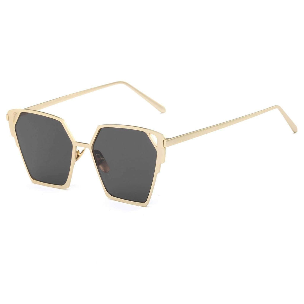 0758 - Laser Cut Modern Mirrored Lens Flat Top Sunglasses