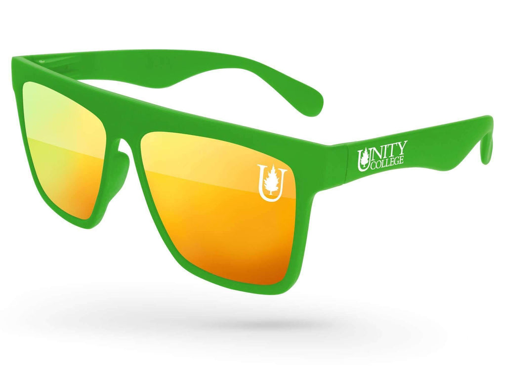 LM510 - Laser Mirror Promotional Sunglasses w/ 1-color lens & temple imprints