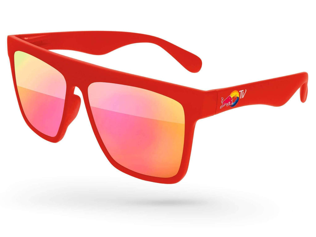 LM020 - Laser Mirror Promotional Sunglasses w/ full-color temple imprint