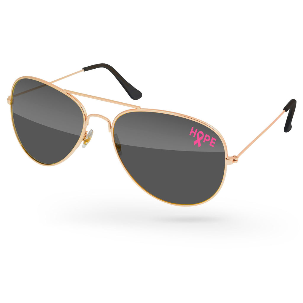 MD500-BCA - Breast Cancer Awareness Metal Aviator Promotional Sunglasses w/ 1-color lens imprint