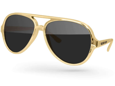 Metallic Aviator Promotional Sunglasses w/ 1-color temple imprint