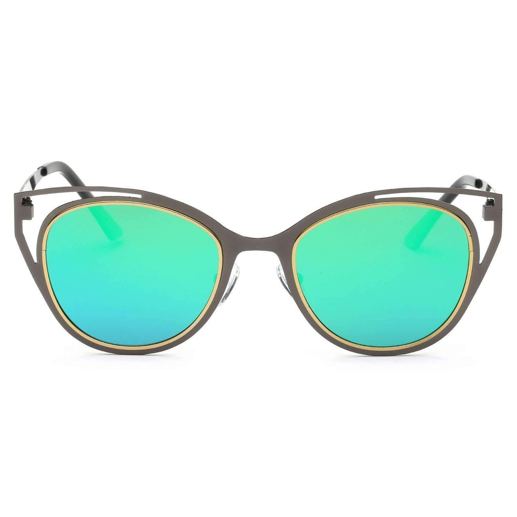 Mirrored Flat Lens Modern Cat Eye Metal Sunglasses