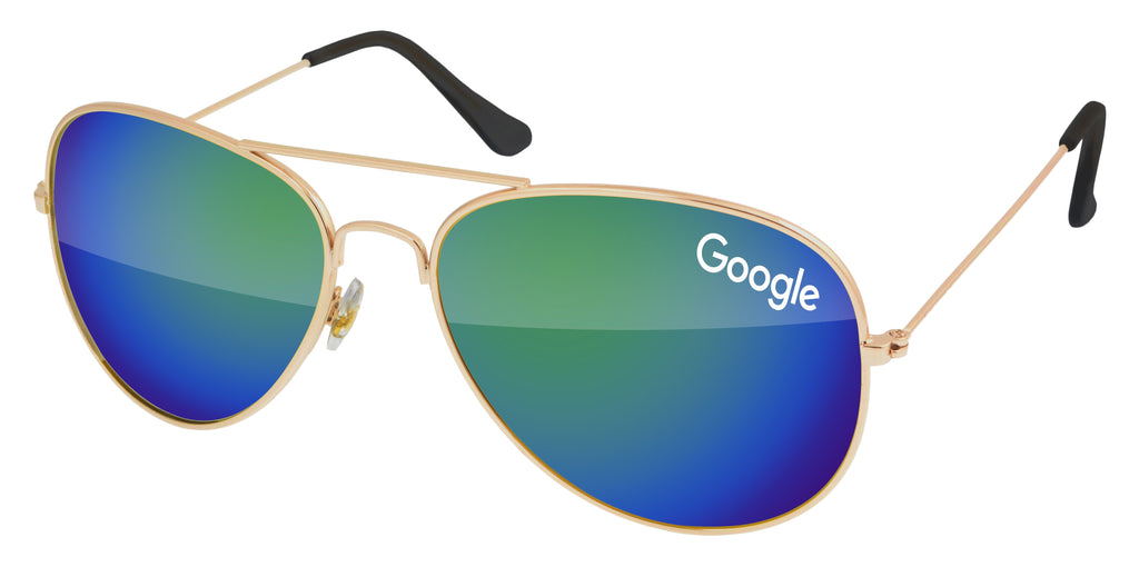 MM500 - Metal Aviator Mirror Promotional Sunglasses w/ 1-color lens imprint