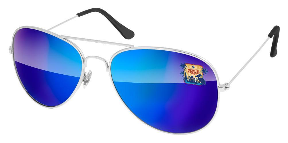 MM700 - Metal Aviator Mirror Promotional Sunglasses w/ full-color lens imprint