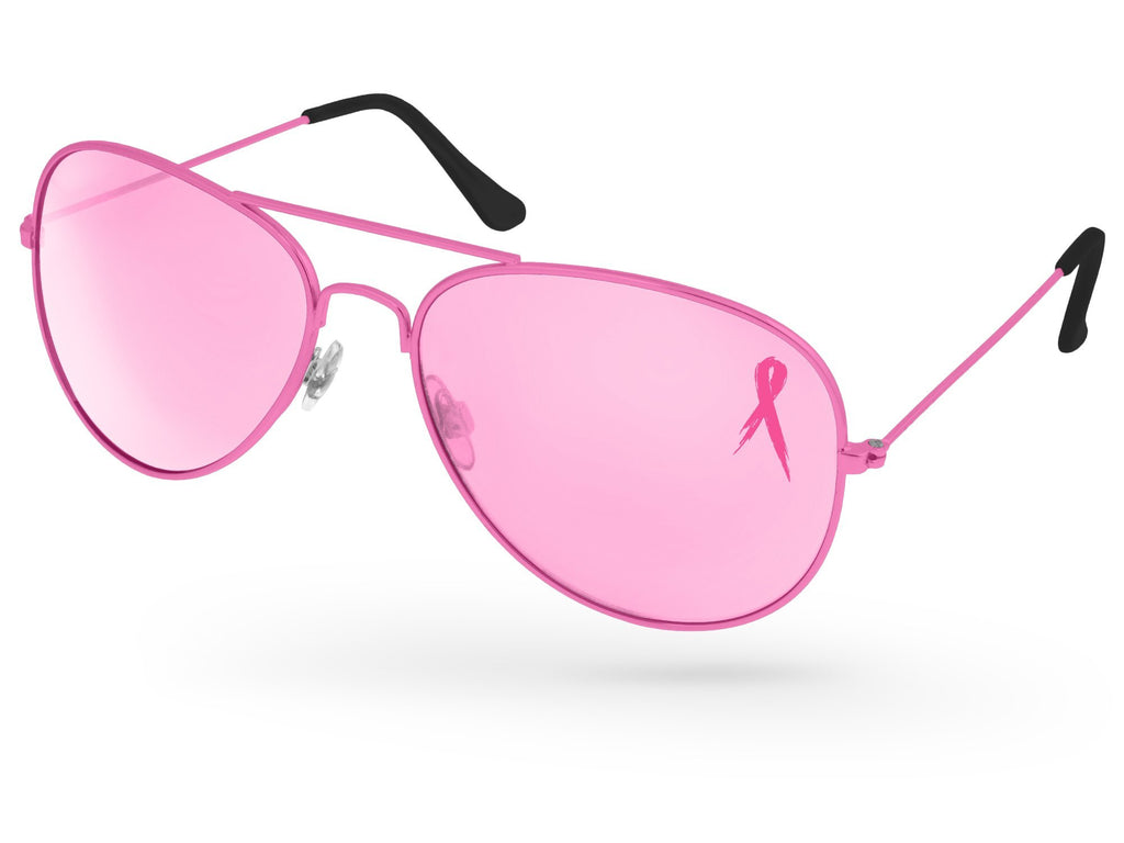 MT500 - Breast Cancer Awareness Metal Aviator Promotional Sunglasses w/ 1-color lens imprint