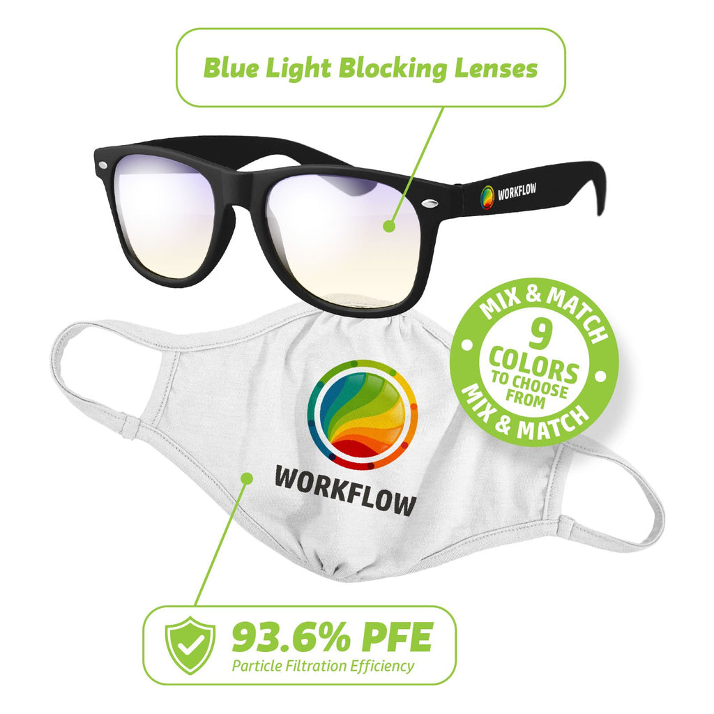 NL100-KT- Essentials Kit: Reusable Face Mask & Blue Light Glasses