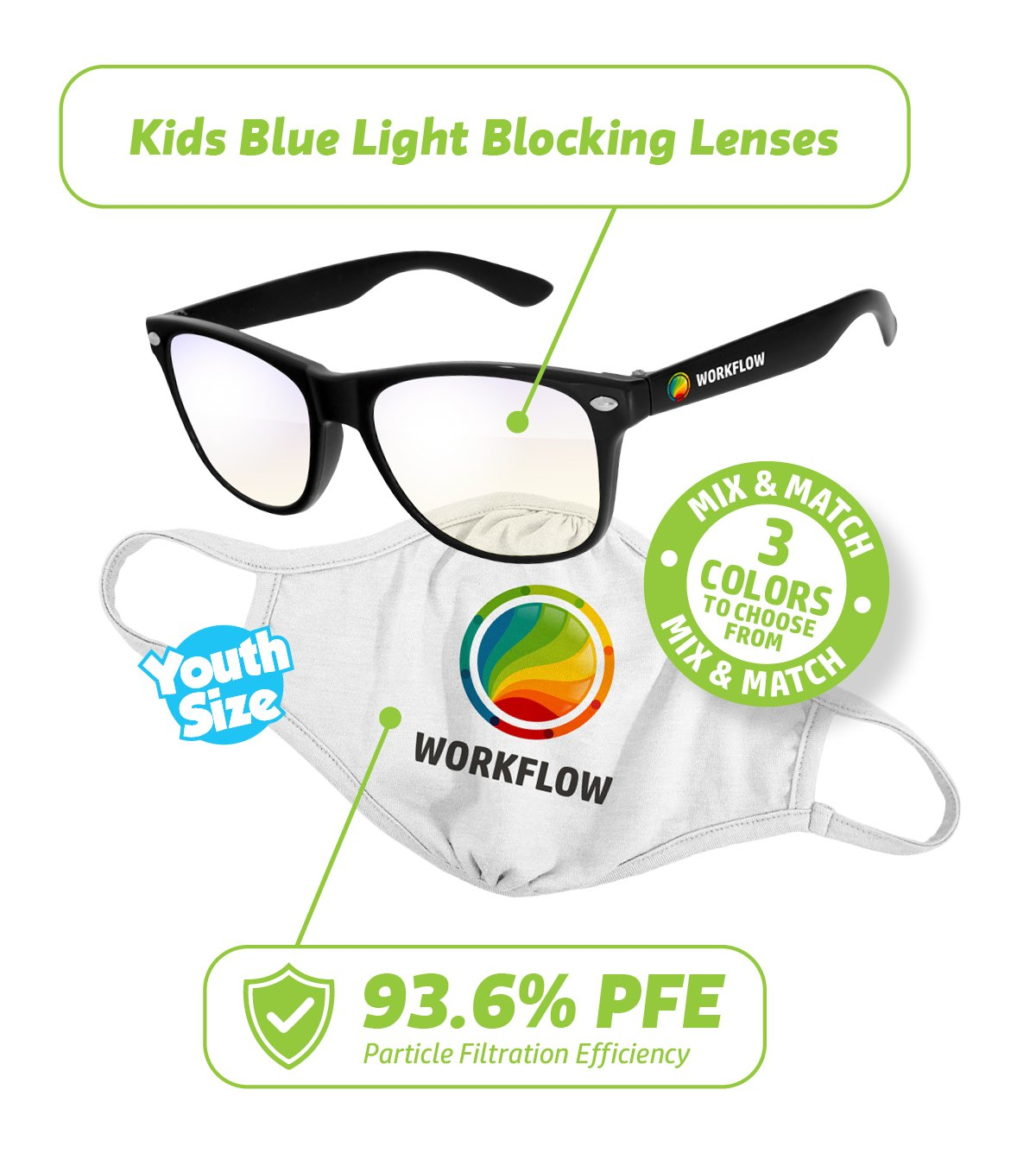 NL101-KT- Youth Essentials Kit: Reusable Face Mask & Blue Light Glasses