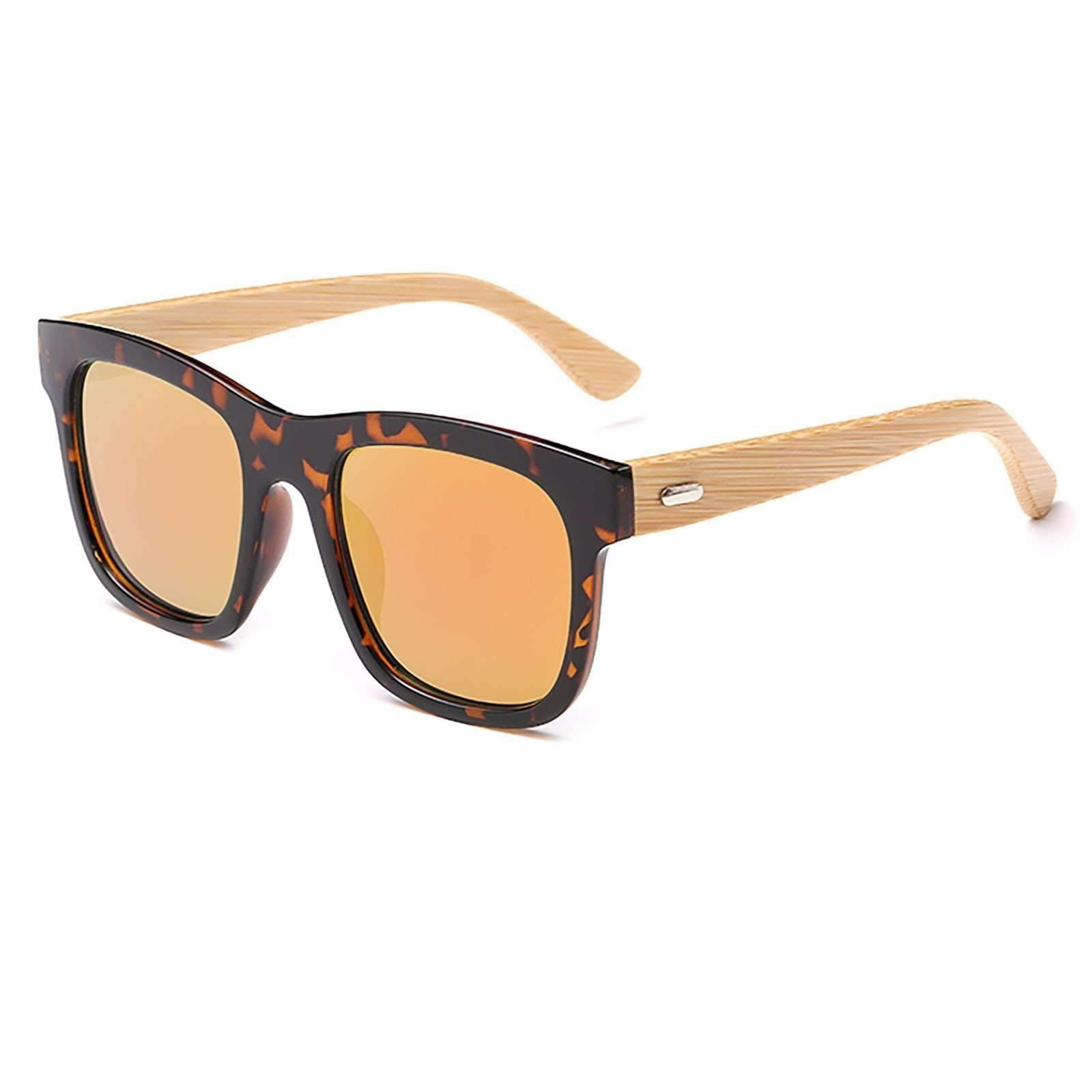 8059 - Oversize Squared Tortoise Two-Tone Wood Sunglasses