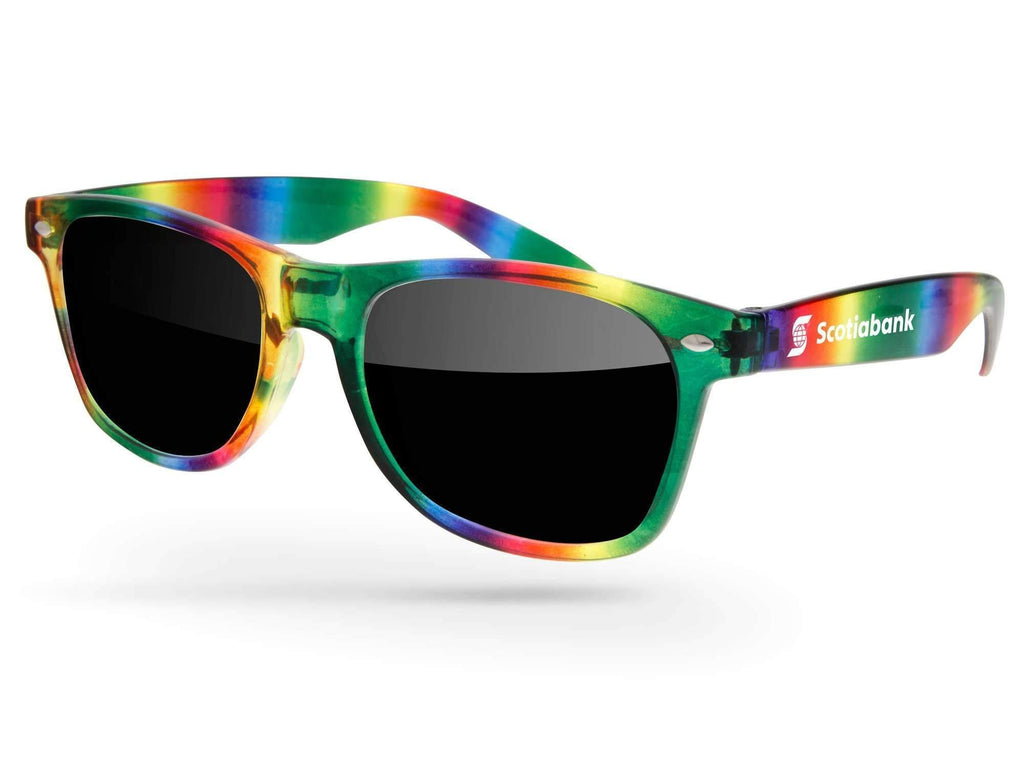 Clear Rainbow Retro Promotional Sunglasses w/ 1-color temple imprint