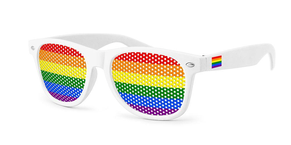 RC120 - Pride Retro Pinhole Promotional Sunglasses w/ full-color temple imprint