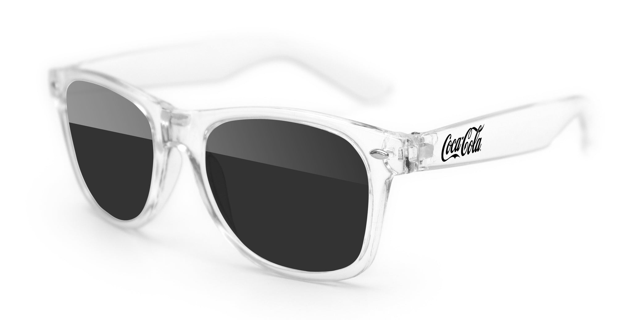 RD010-C - Clear Retro Promotional Sunglasses w/ 1-color temple imprint