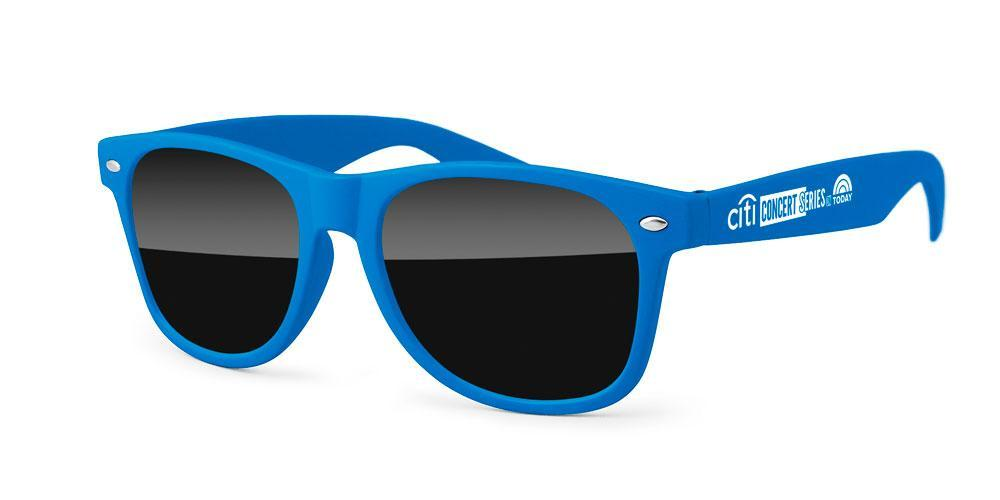 RD010-R - Soft Touch Matte Retro Promotional Sunglasses w/ 1-color temple imprint