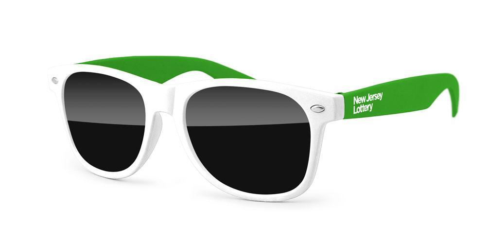 RD012-STK - 2-tone Retro Promotional Sunglasses w/ 1-color temple imprint (black front only)