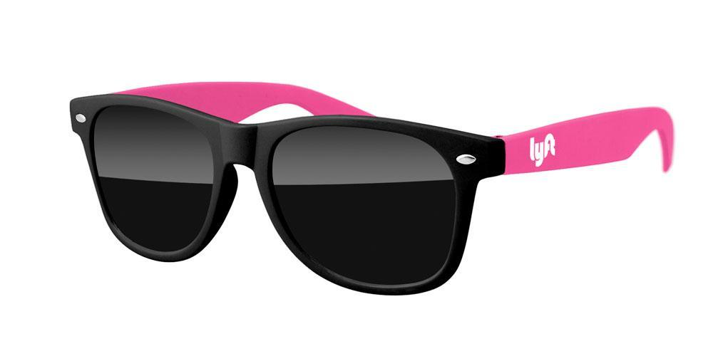RD012-STK - 2-tone Retro Promotional Sunglasses w/ 1-color temple imprint (Black Front + Stock Arms)