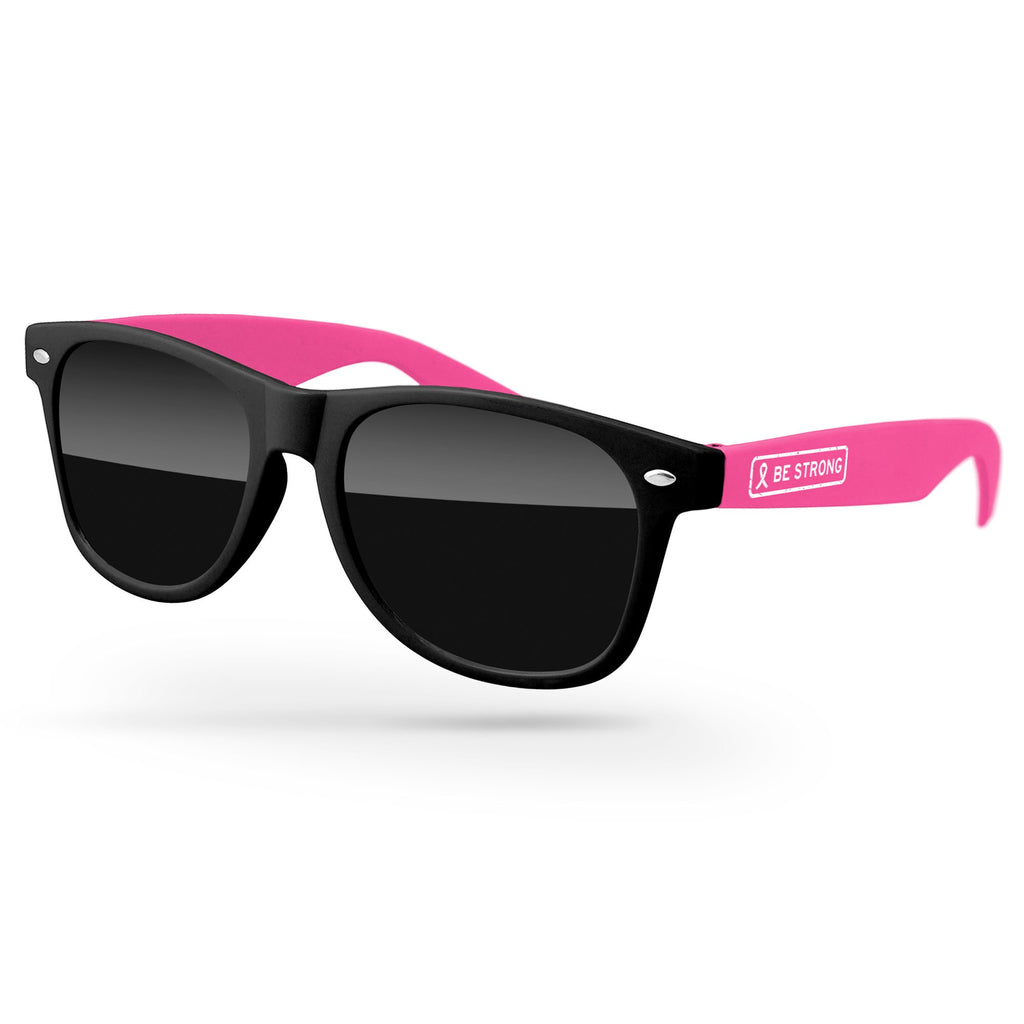 RD012-BCA- Breast Cancer Awareness 2-tone Retro Sunglasses w/ 1-color temple imprint