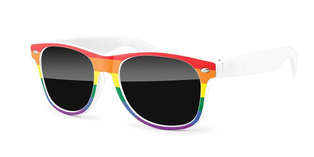 RD040 - Pride Retro Promotional Sunglasses w/ full-color front-frame heat transfer
