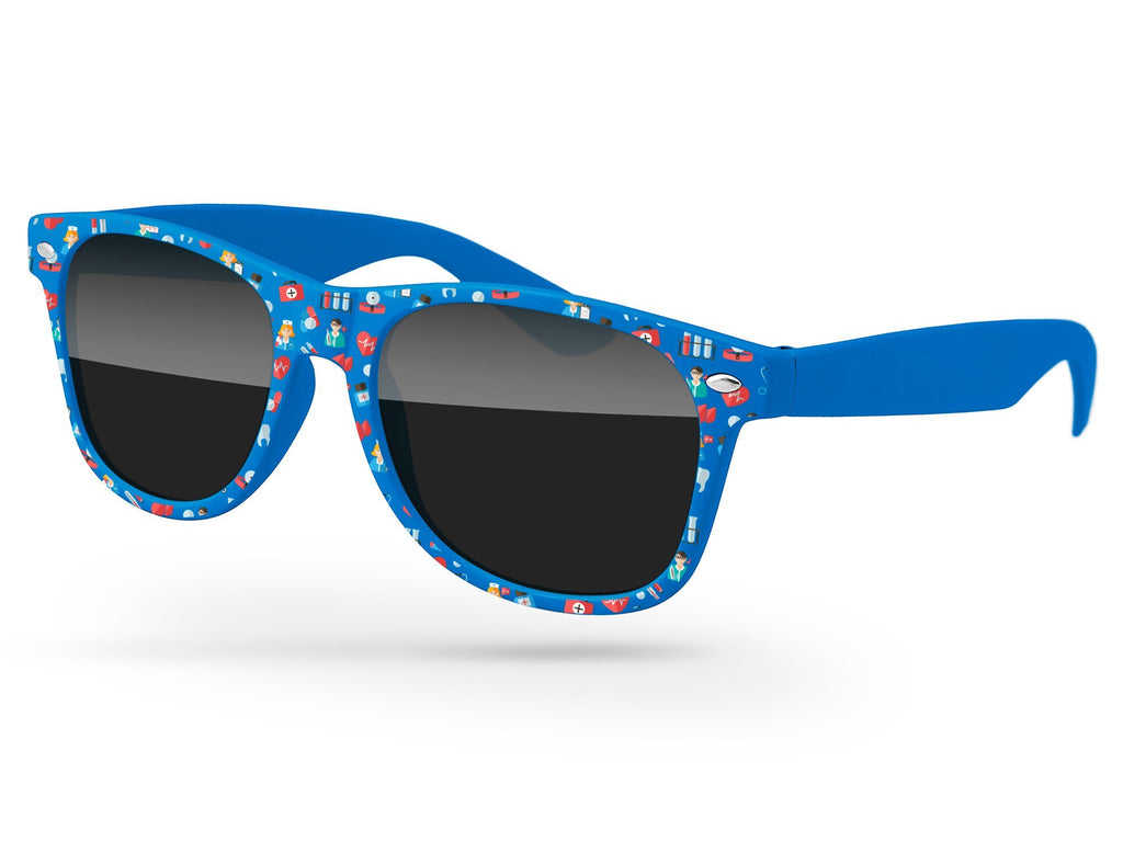 RD040 - Retro Promotional Sunglasses w/ full-color front-frame heat transfer