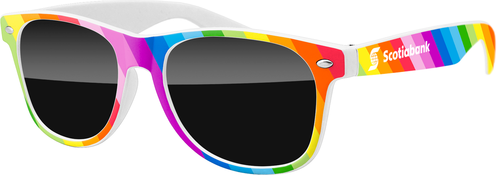 RD010-RBW - Pride Rainbow on White Frame Promotional Sunglasses w/ 1-color temple imprint