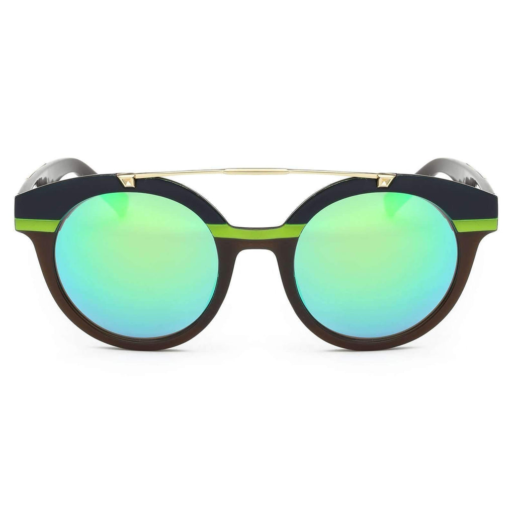 Reflective Mirrored Lens Nautical Striped Sunglasses