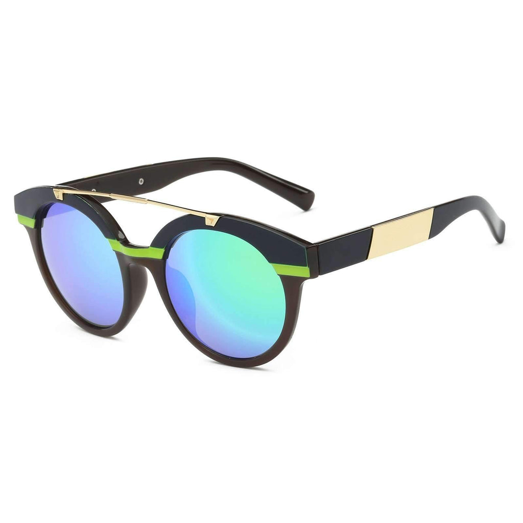 1555 - Reflective Mirrored Lens Nautical Striped Sunglasses