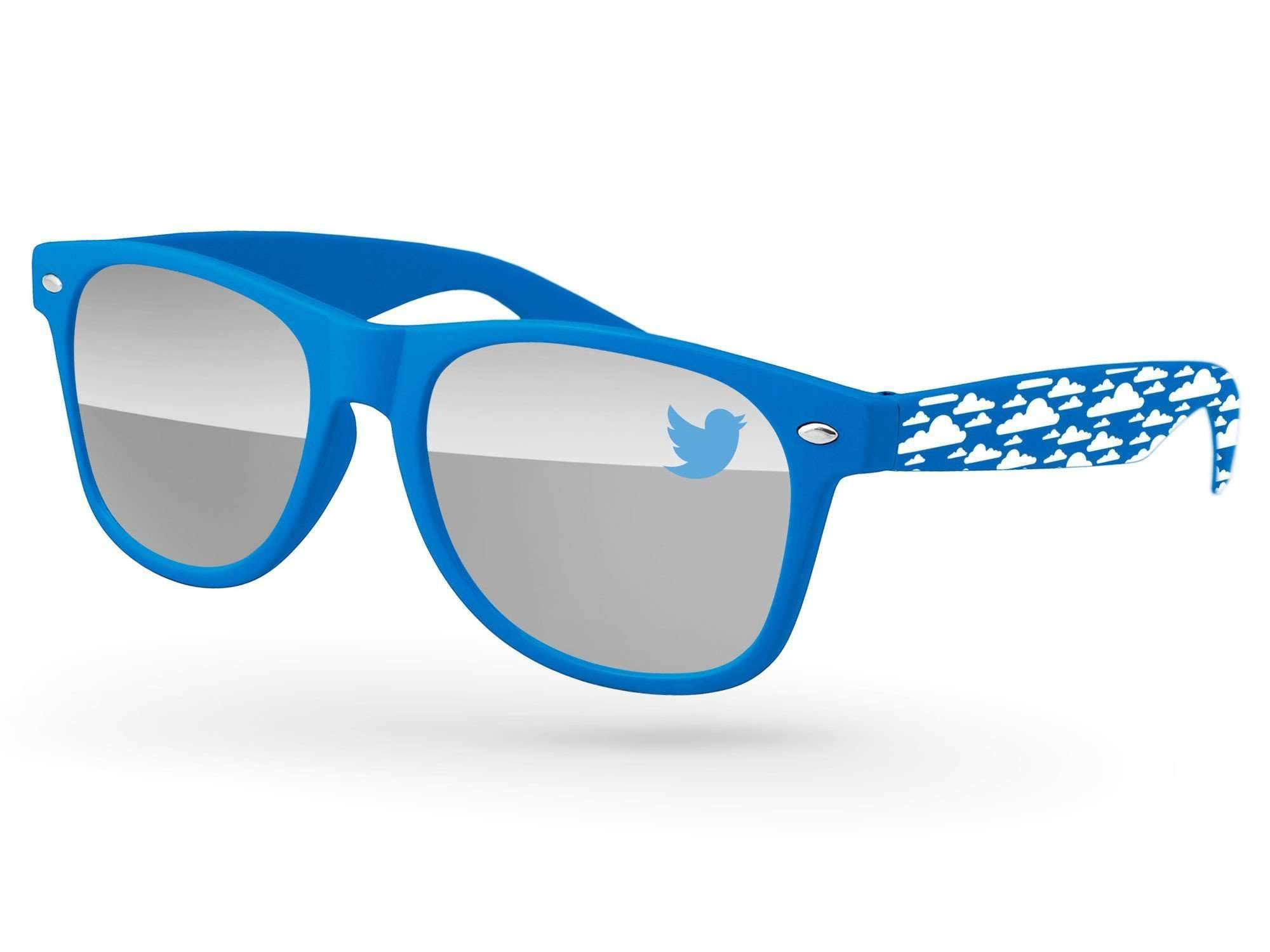 RM530 - Retro Mirror Promotional Sunglasses w/ 1-color lens imprint & 1-color extended arm imprint