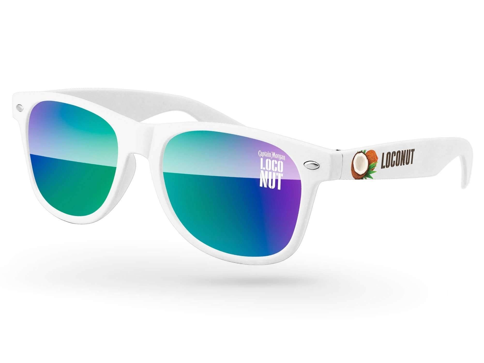 RM520-STK - Retro Mirror Promotional Sunglasses w/ 1-color lens imprint and full-color temple imprint