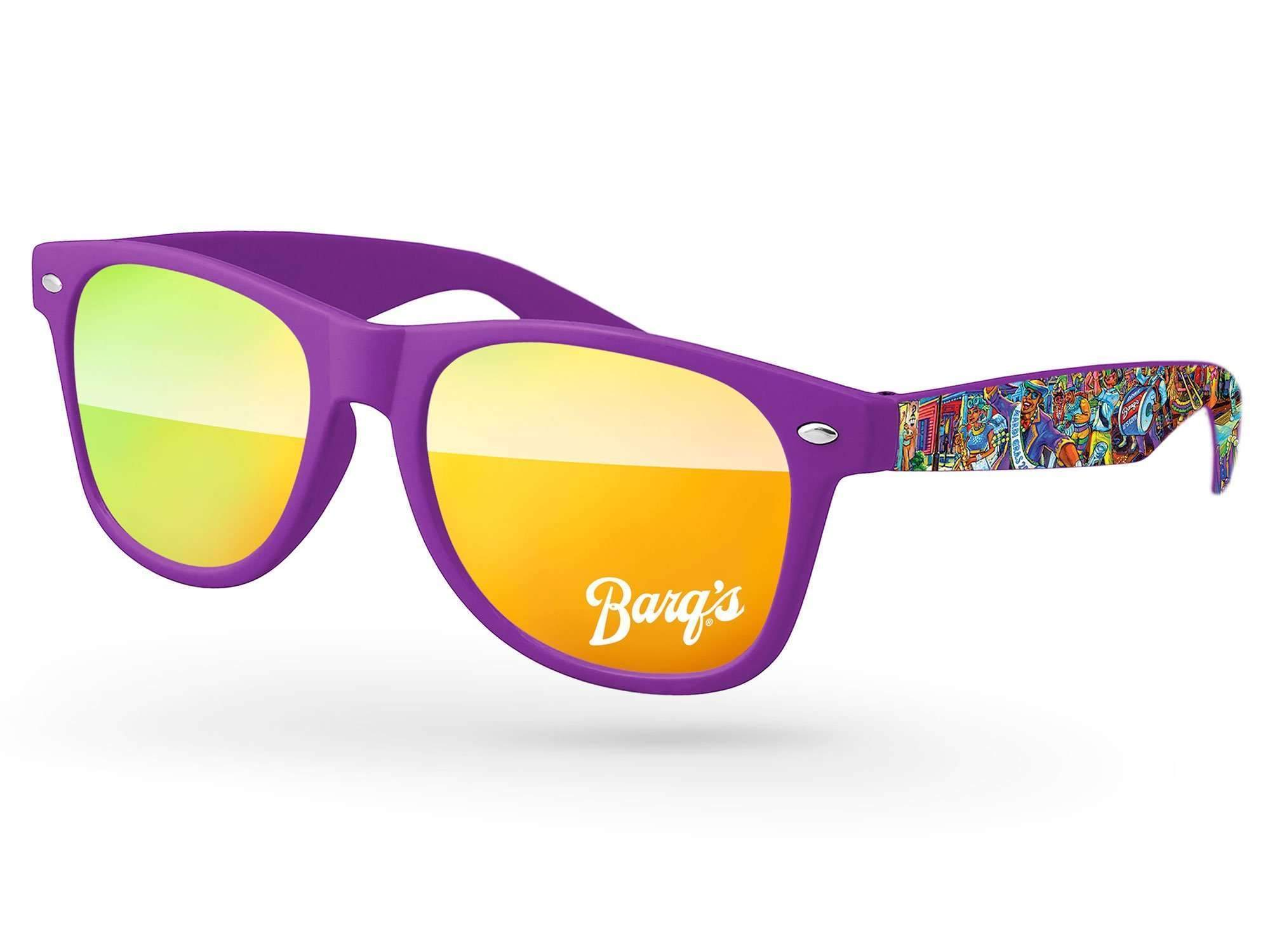 Retro Mirror Promotional Sunglasses w/ 1-color lens imprint & full-color arms heat transfer