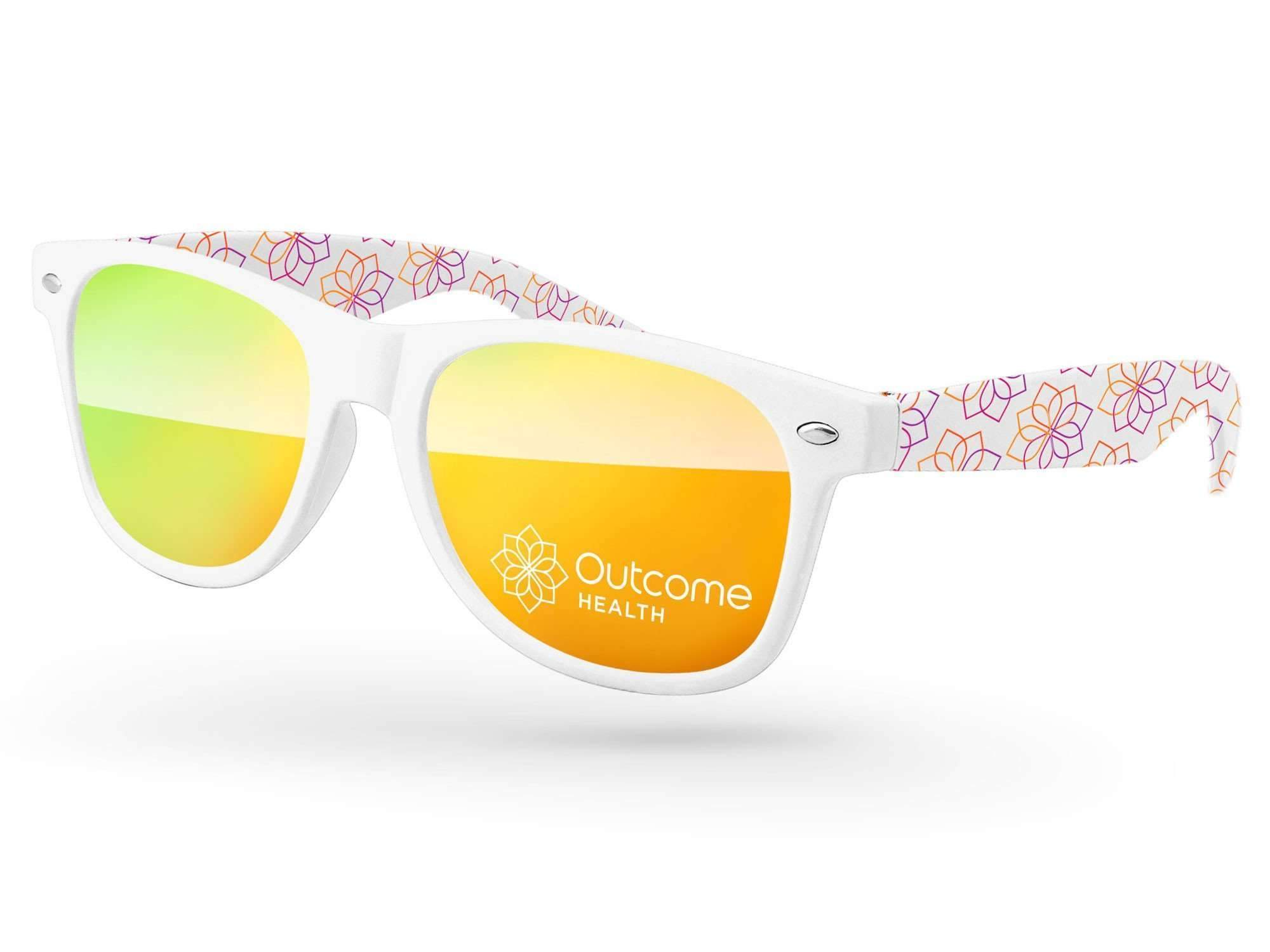 RM580 - Retro Mirror Promotional Sunglasses w/ 1-color lens imprint & full-color arms sublimation wrap