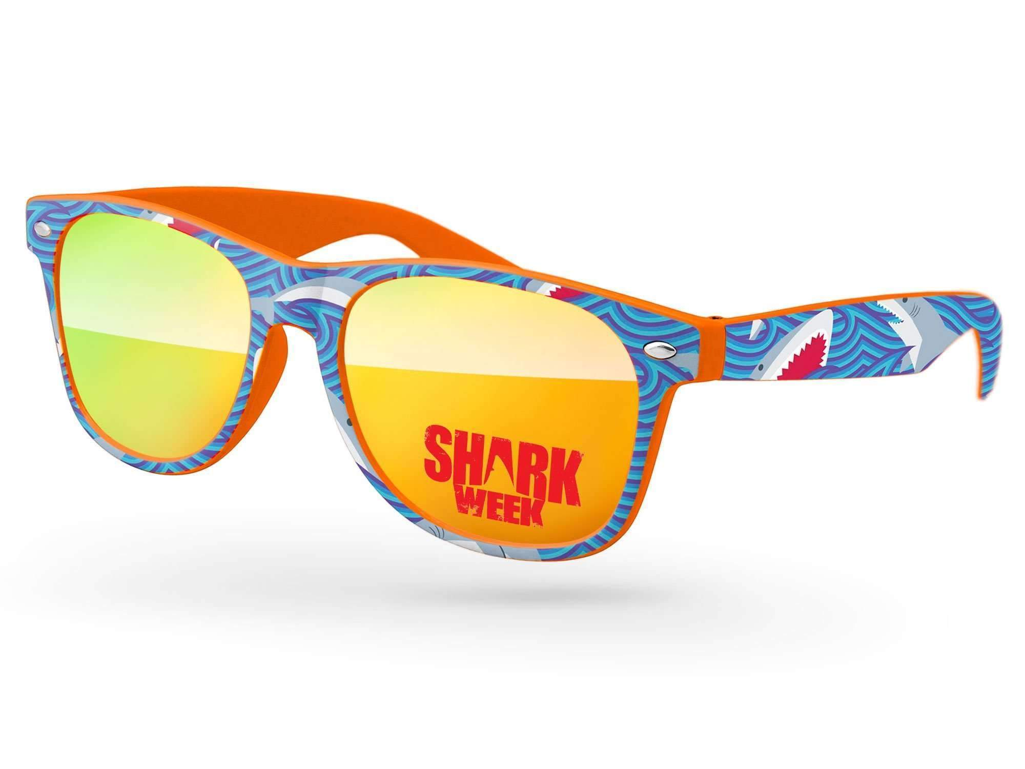 RM560 - Retro Mirror Promotional Sunglasses w/ 1-color lens imprint & full-color full-frame heat transfer