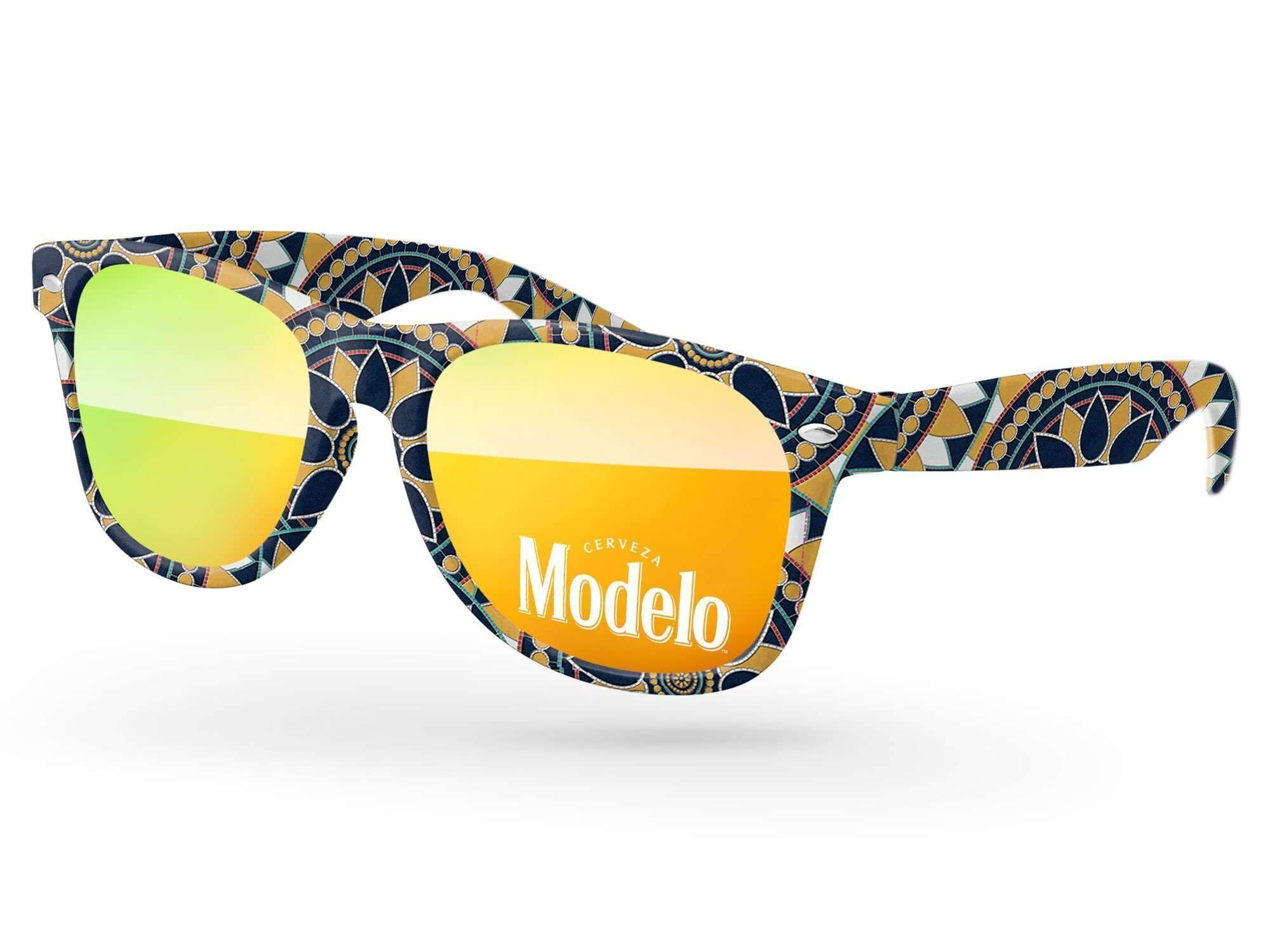 Retro Mirror Promotional Sunglasses w/ 1-color lens imprint & full-color full-frame sublimation wrap