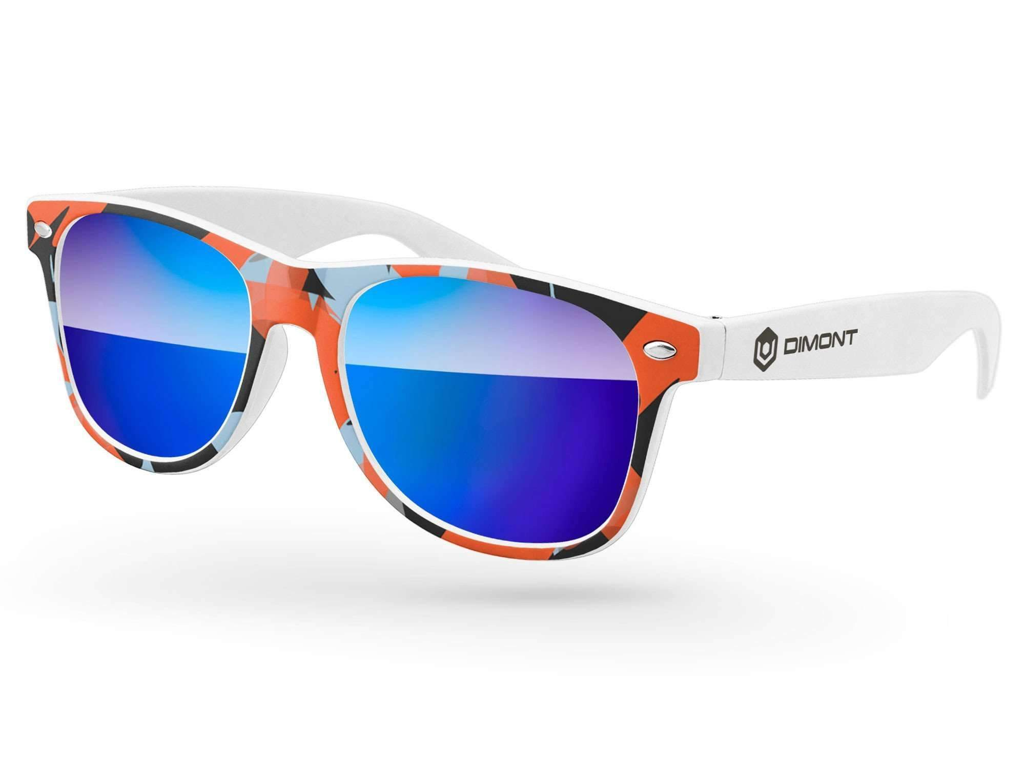 RM040 - Retro Mirror Promotional Sunglasses w/ full-color front-frame heat transfer & 1-color temple imprint