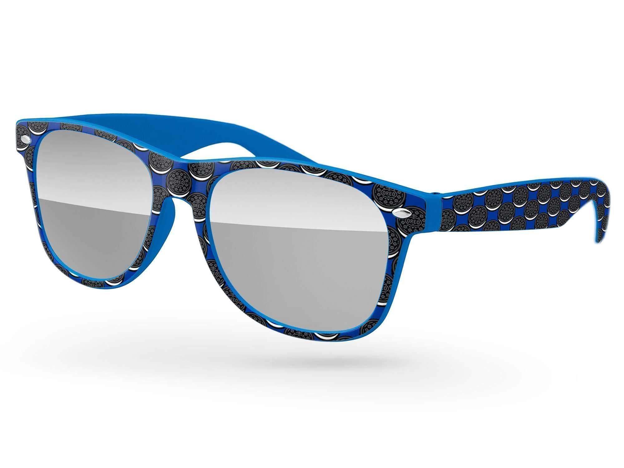 Retro Mirror Promotional Sunglasses w/ full-color full-frame heat transfer