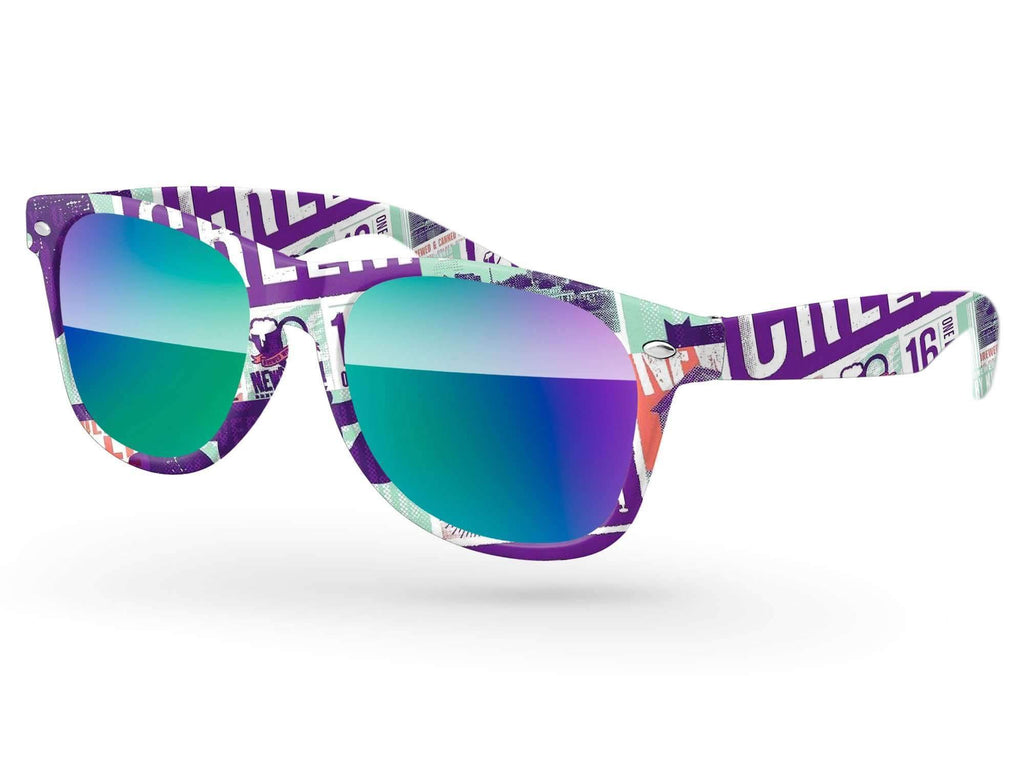 Retro Mirror Promotional Sunglasses w/ full-color full-frame sublimation wrap