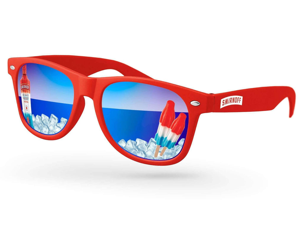 RM410 - Retro Mirror Promotional Sunglasses w/ full-color lens imprints & 1-color temple imprint