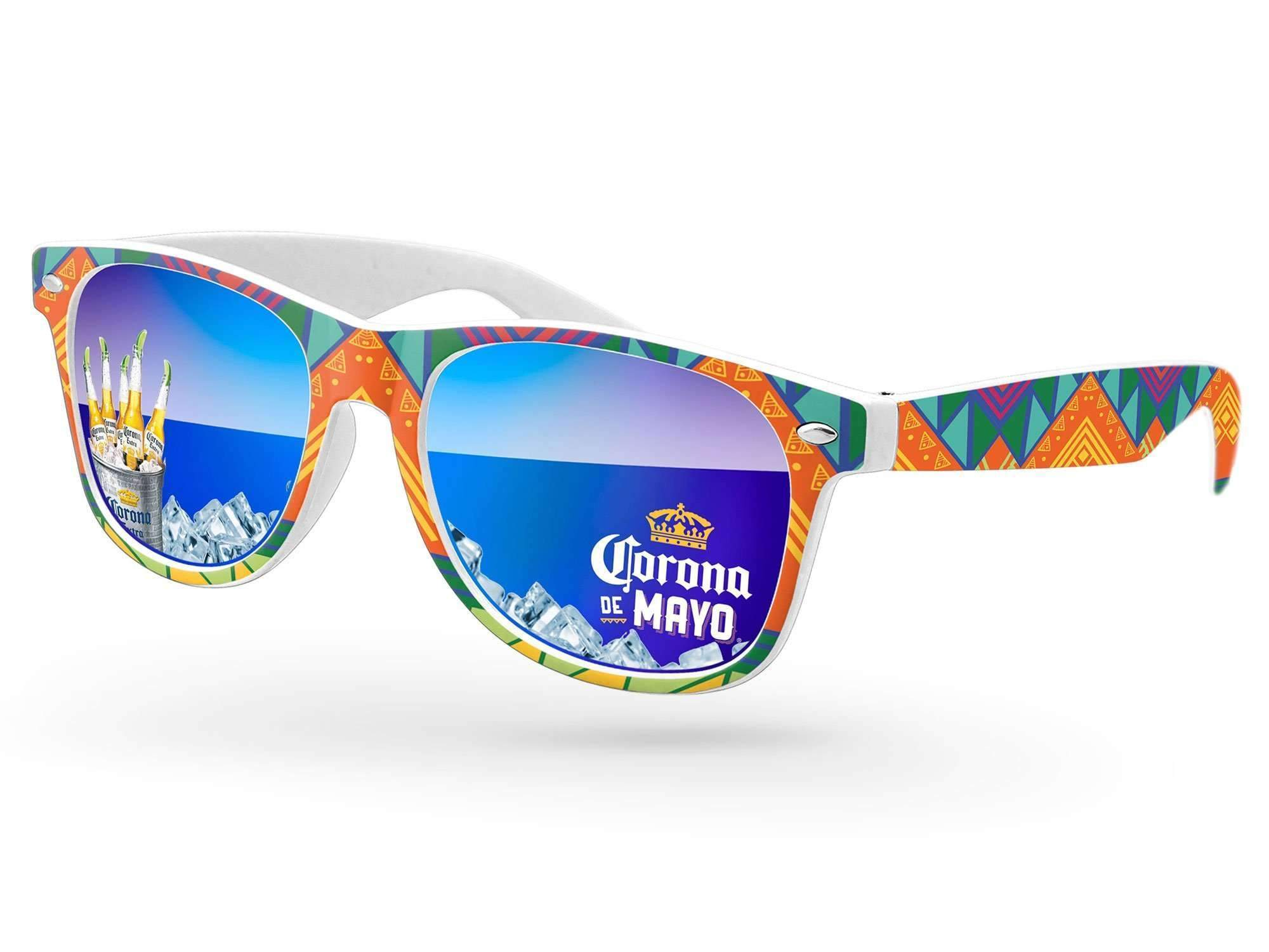 RM460 - Retro Mirror Promotional Sunglasses w/ full-color lens imprints & full-color full-frame heat transfer