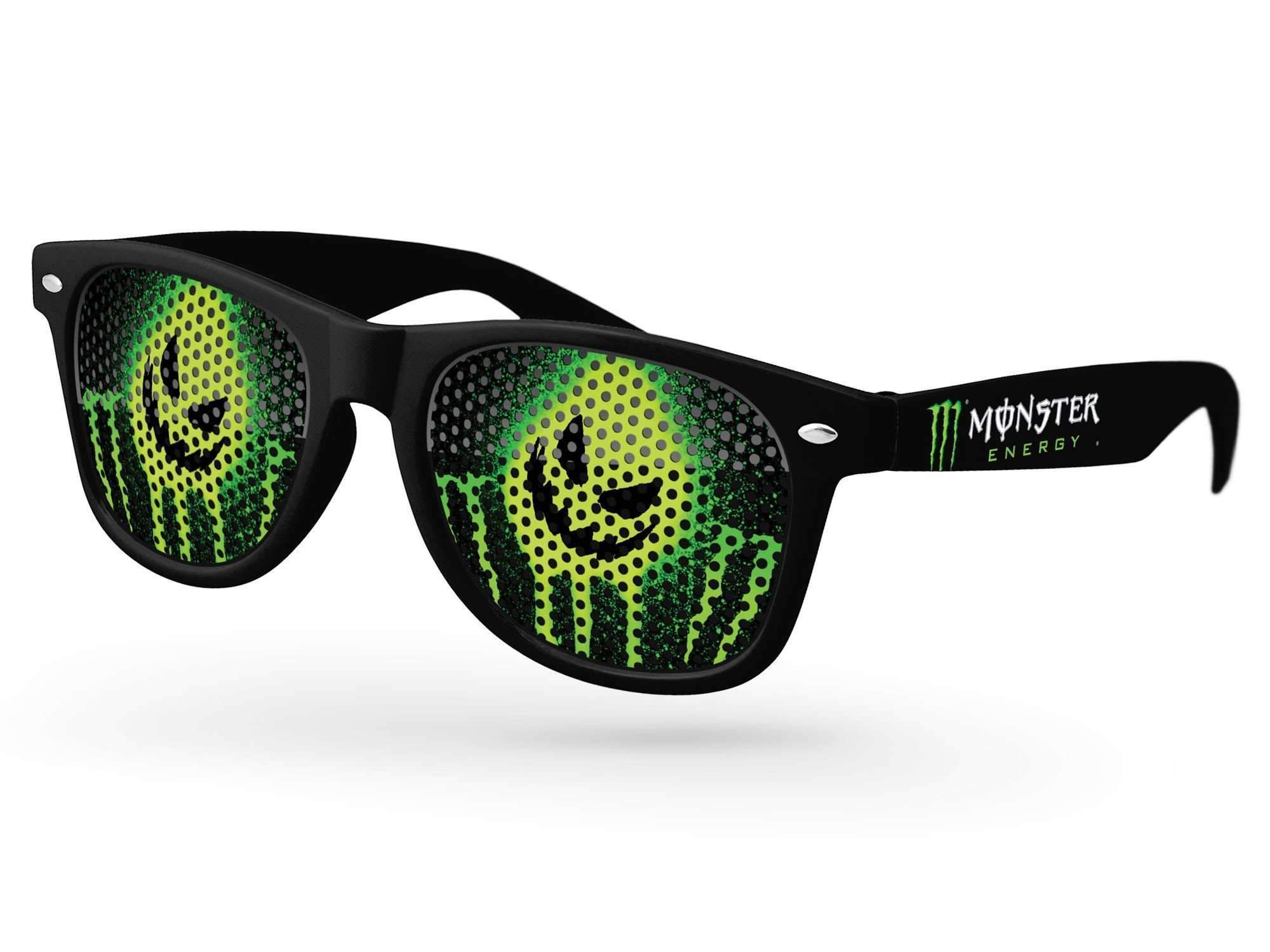 Retro Pinhole Promotional Sunglasses w/ full-color temple imprint