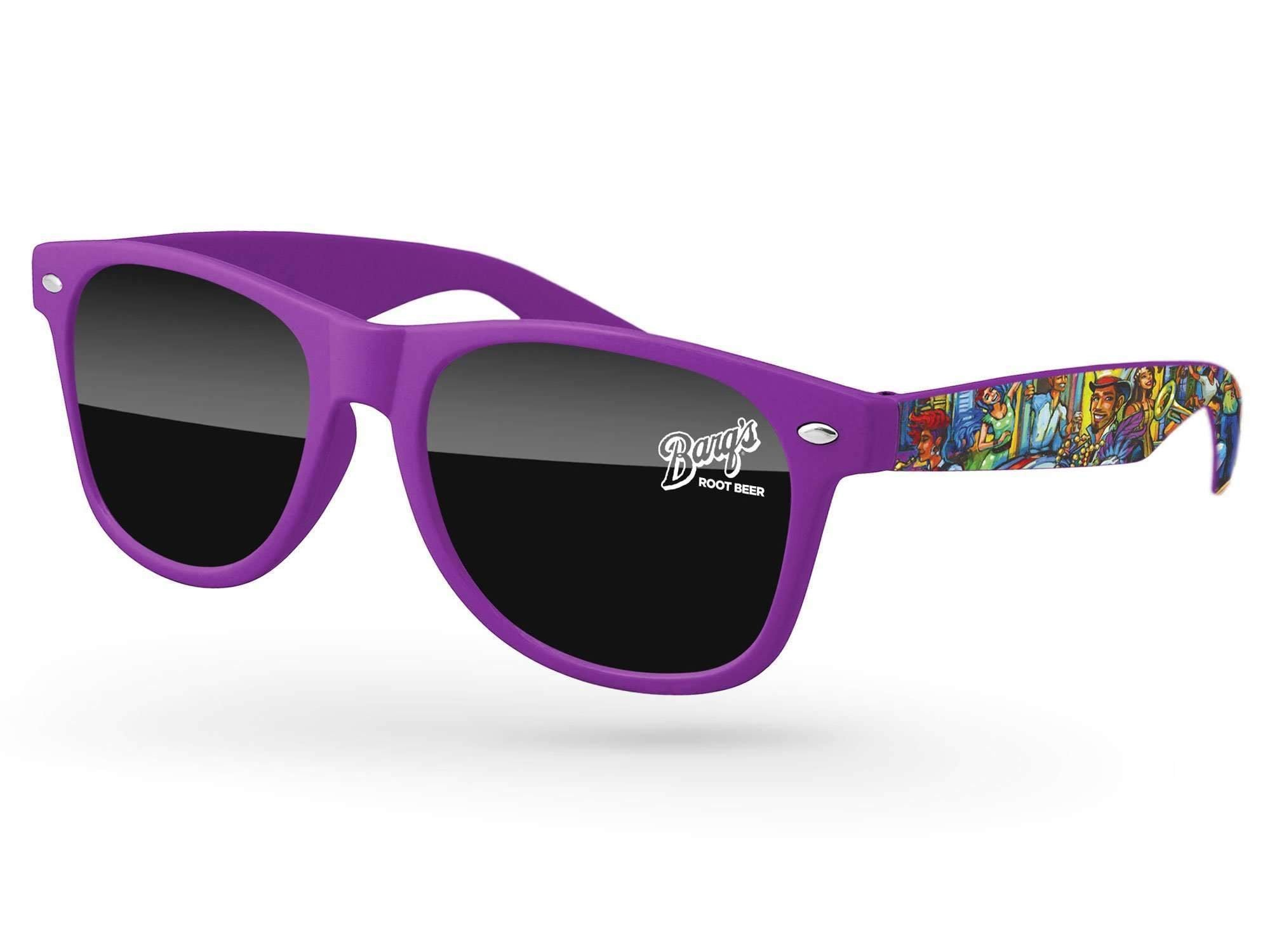 RD550 - Retro Promotional Sunglasses w/ 1-color lens imprint & full-color arms heat transfer