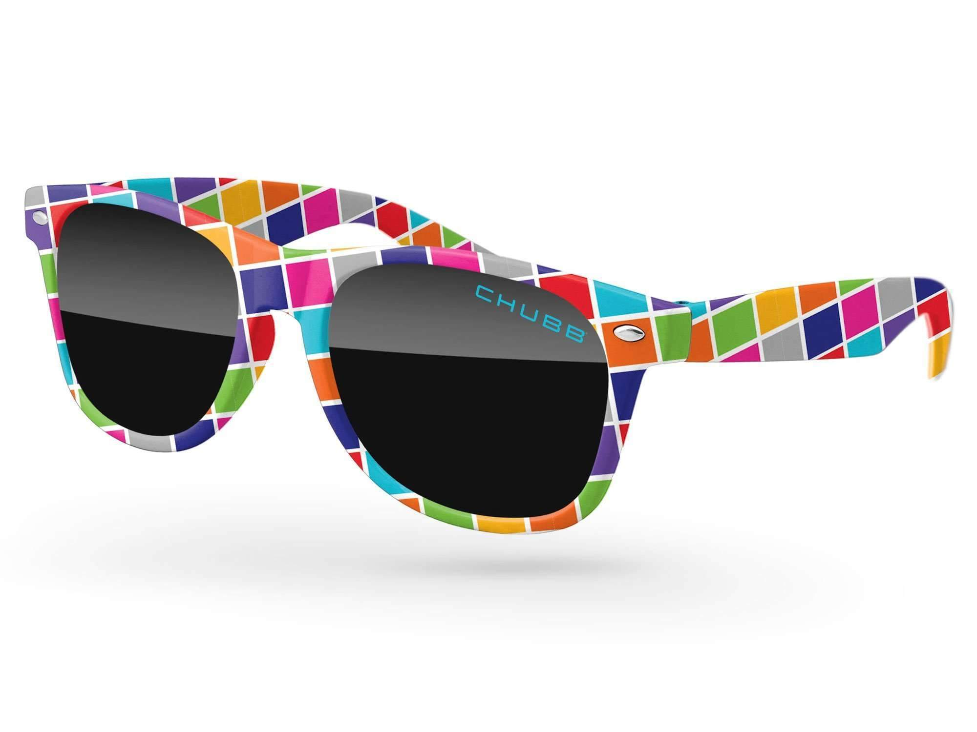 Retro Promotional Sunglasses w/ 1-color lens imprint & full-color front-frame sublimation wrap