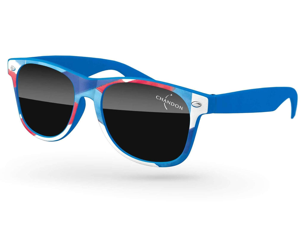 Retro Promotional Sunglasses w/ 1-color temple imprint & full-color front-frame heat transfer