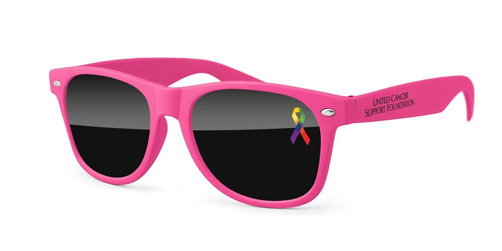 Retro Promotional Sunglasses w/ full-color corner lens imprint & 1-color temple imprint