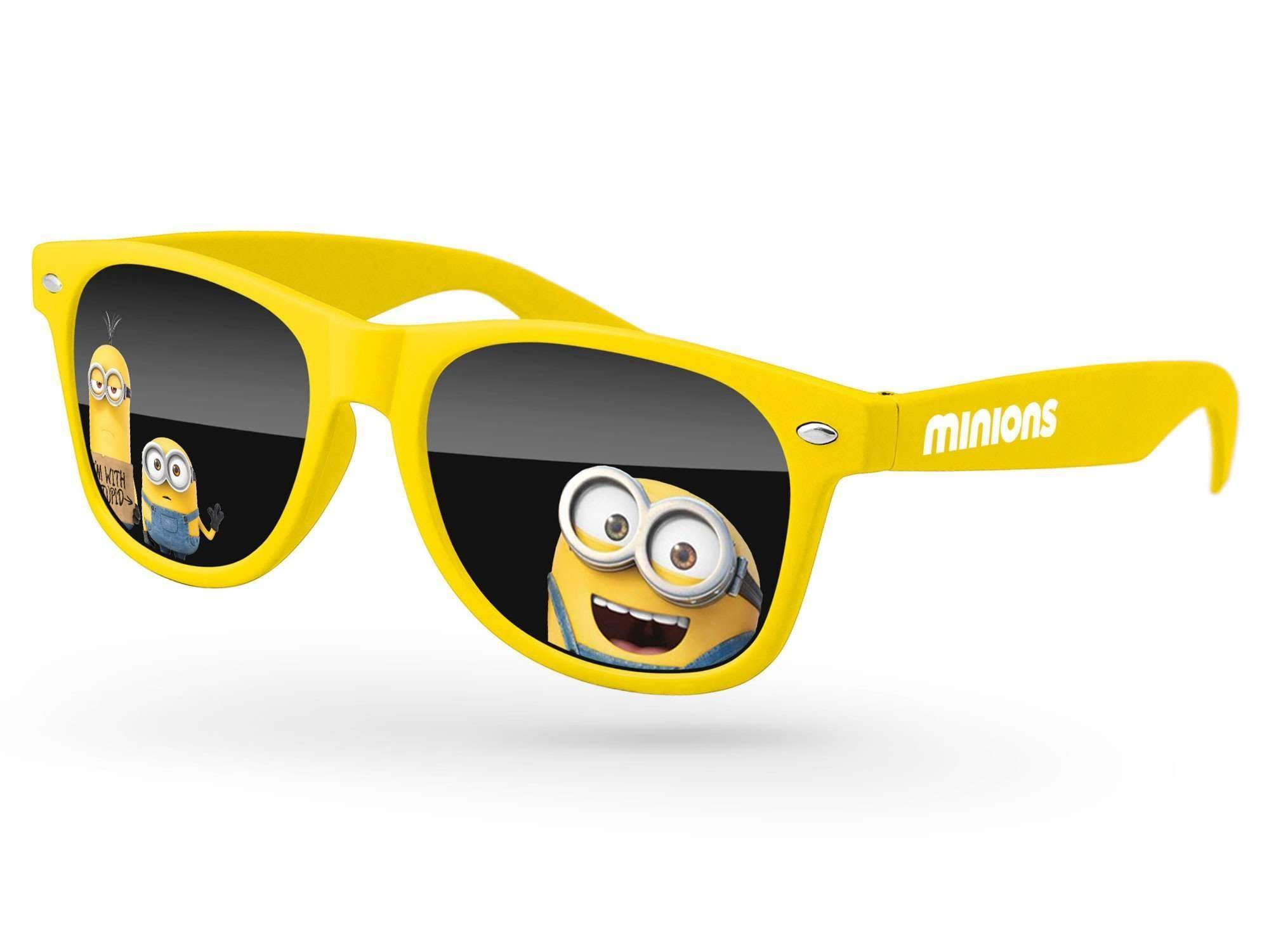 RD410 - Retro Promotional Sunglasses w/ full-color lens imprints & 1-color temple imprint