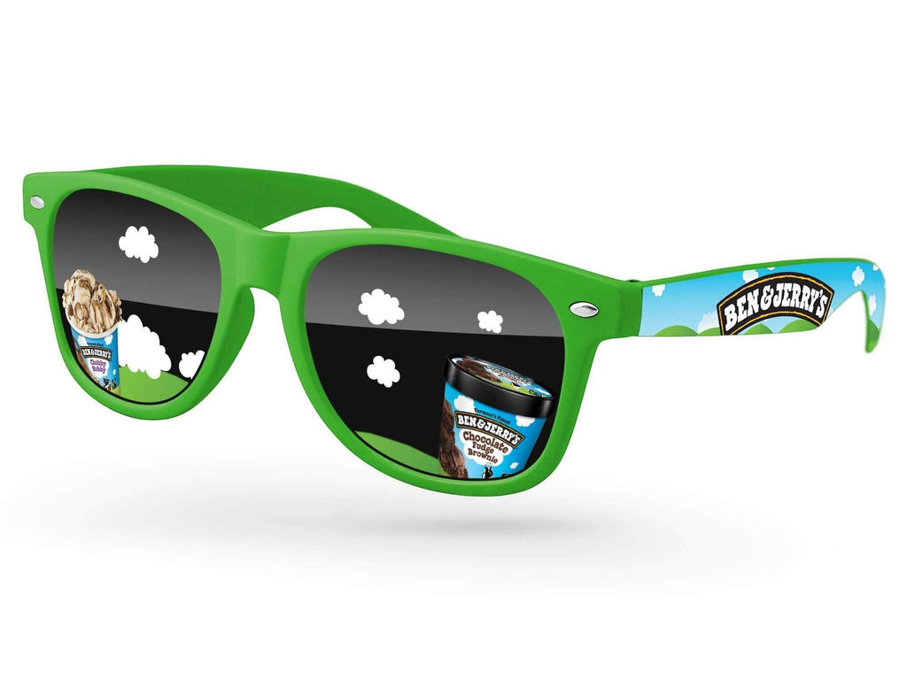 Retro Promotional Sunglasses w/ full-color lens imprints & full-color arms heat transfer