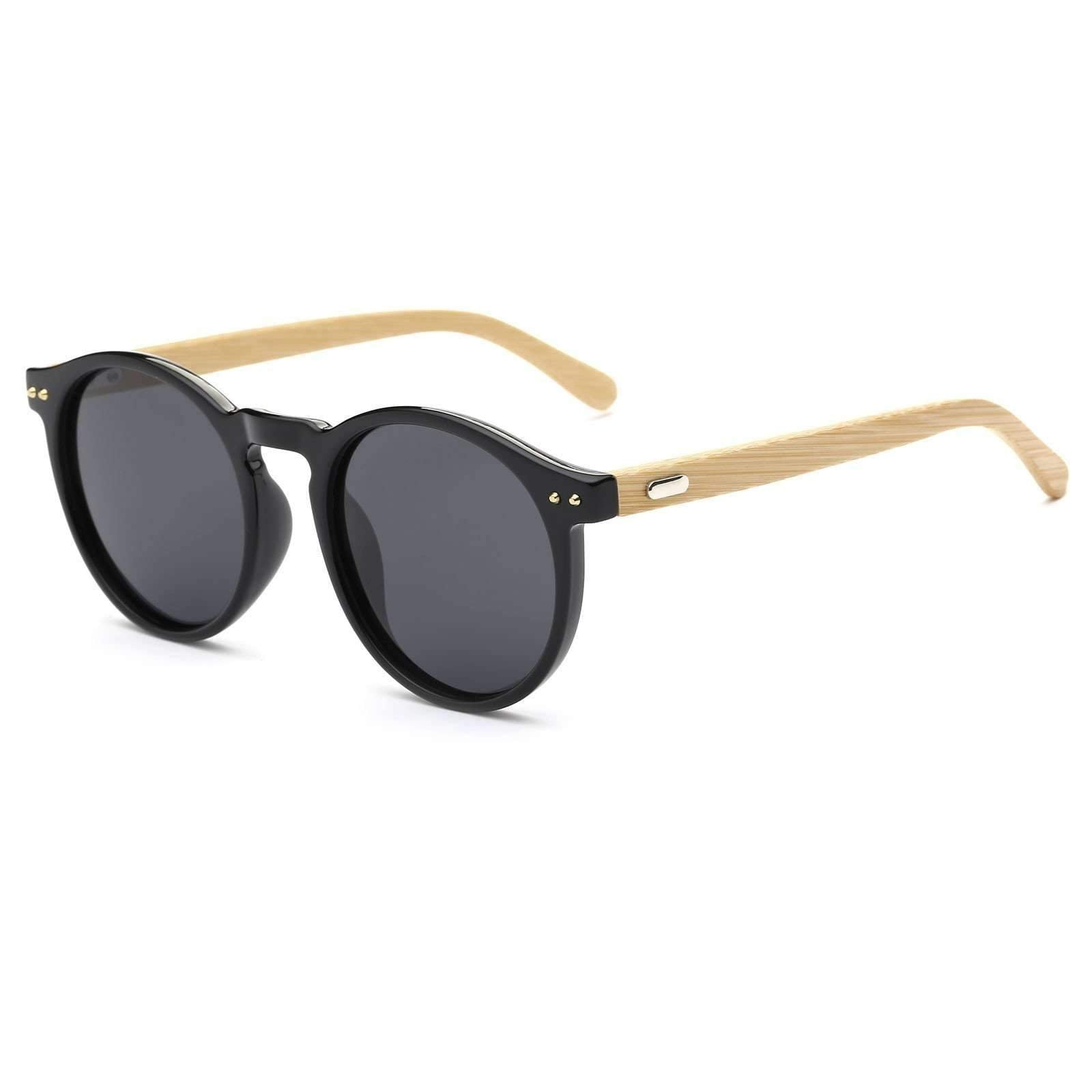 8127 - Retro Round Rim Dark Lens Wood Sunglasses
