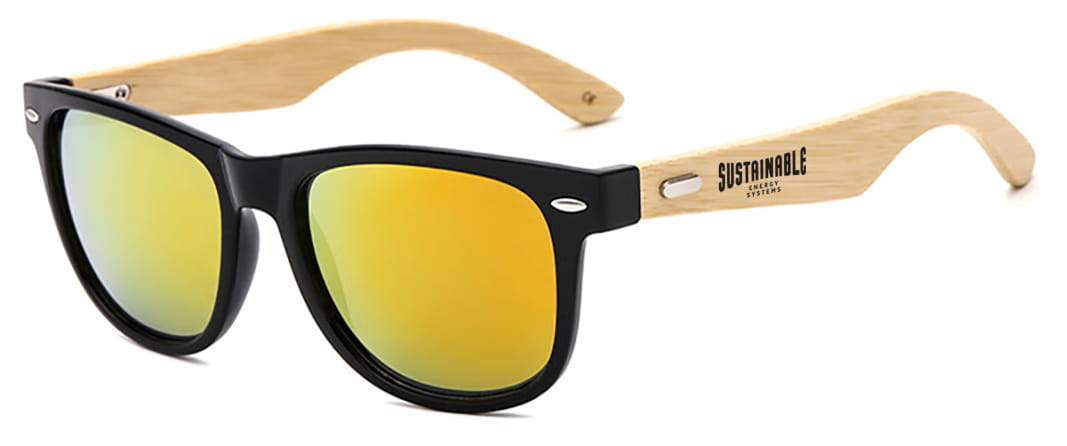 RM012-BB - 2-tone Retro Mirrored Bamboo Promotional Sunglasses
