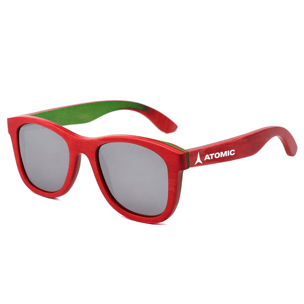 Skateboard Wood Mirrored Lenses - Promotional Sunglasses