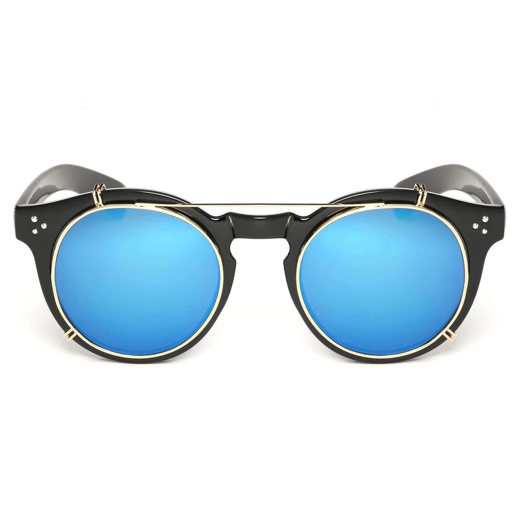 0108 - Steampunk Removable Mirrored Lens Round Sunglasses