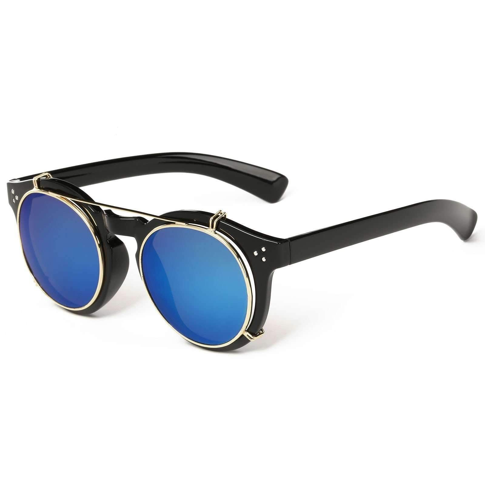 Steampunk Removable Mirrored Lens Round Sunglasses