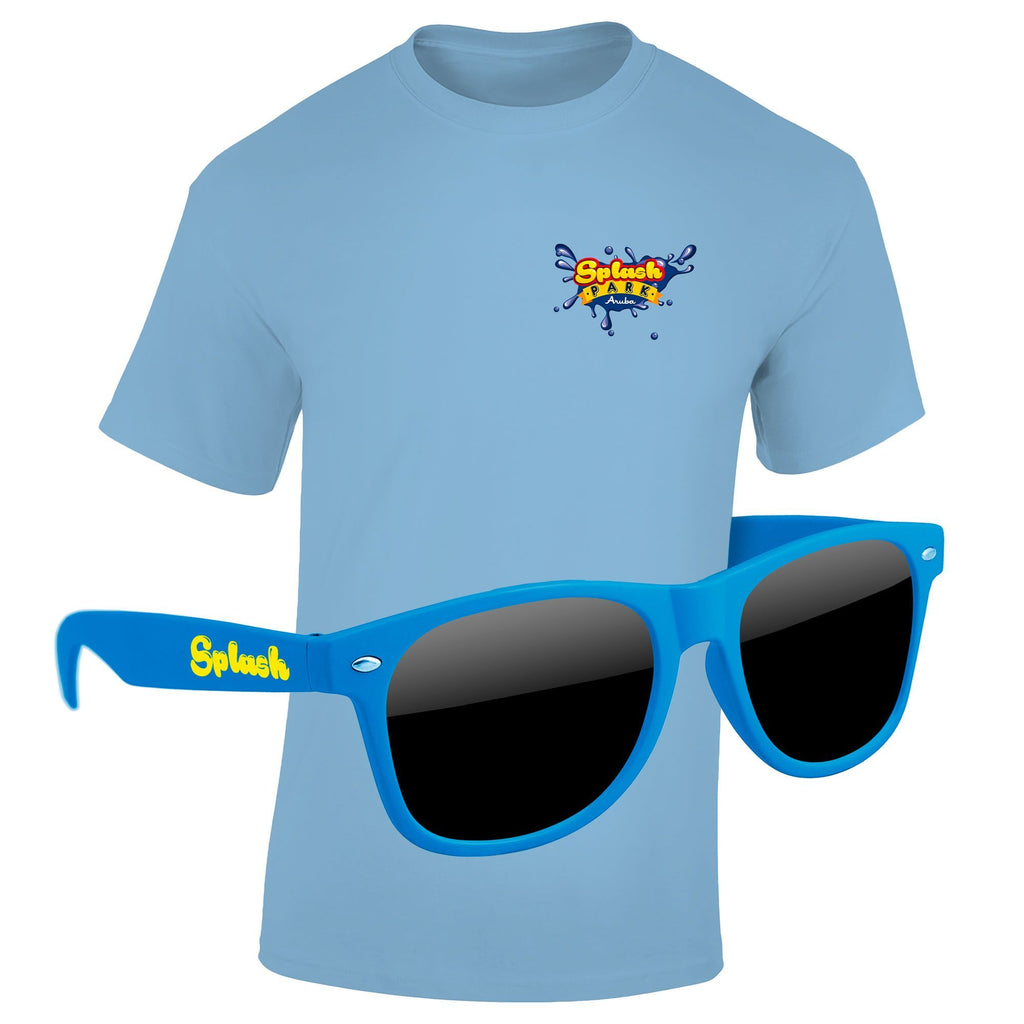 "4980-1KD04 - T-Shirt & Sunglasses Kit - Full-Color On Color/Black T-Shirt (Up To 4""x4"")"