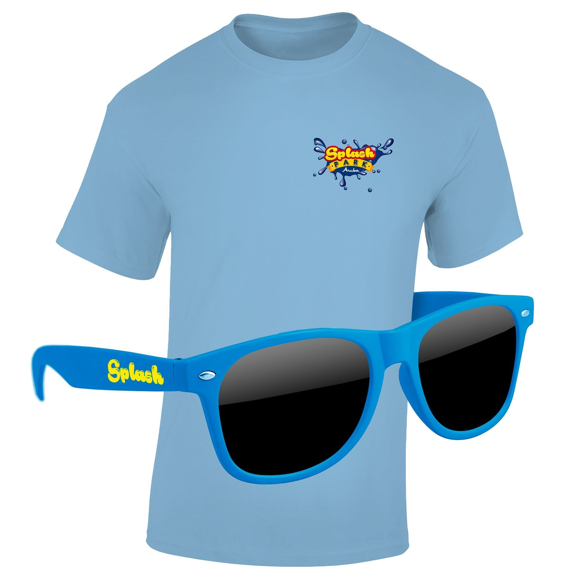 "T-Shirt & Sunglasses Kit - Full-Color On Color/Black T-Shirt (Up To 5"" x 5"")"