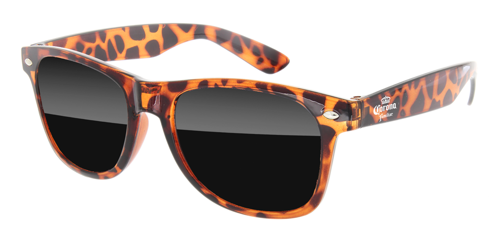 RD010-T - Tortoise Retro Promotional Sunglasses w/ 1-color temple imprint | CLEARANCE SALE